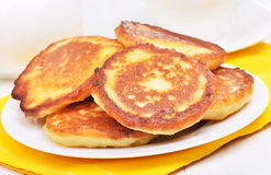 Homemade fritters on white plate Royalty Free Stock Image