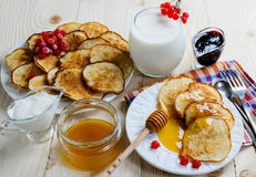 Homemade fritters on wooden background. Top view Royalty Free Stock Photo