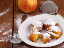 Homemade fritters on wooden background Stock Photo