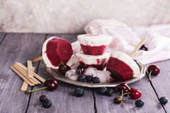 Homemade frozen black forest cheesecake Stock Image