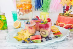 Homemade frozen popsicles stock photography