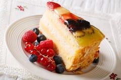 Homemade fruit berry cake closeup on a table. horizontal Royalty Free Stock Photo