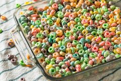 Homemade Fruit Cereal Marshmallow Treat. Squares Ready to EAt stock image