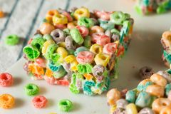 Homemade Fruit Cereal Marshmallow Treat. Squares Ready to EAt stock photo