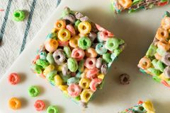 Homemade Fruit Cereal Marshmallow Treat. Squares Ready to EAt stock photography