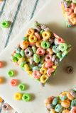 Homemade Fruit Cereal Marshmallow Treat. Squares Ready to EAt royalty free stock images