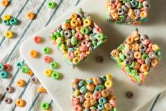 Homemade Fruit Cereal Marshmallow Treat. Squares Ready to EAt stock photos
