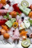 Homemade fruit ice cream, kiwi, strawberry, peach with mint Stock Photography