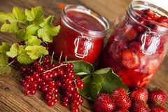 Homemade fruit jam in the jar Stock Photos
