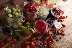 Homemade fruit jam in the jar Royalty Free Stock Images
