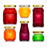 Homemade fruit jam jars with label Stock Photos