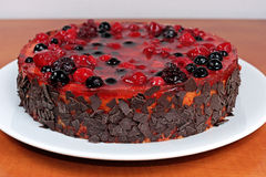 Homemade fruit jelly cake with raspberries and wild berries Royalty Free Stock Image