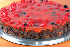 Homemade fruit jelly cake with raspberries and wild berries Stock Photo