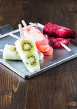 Homemade fruit juice popsicles with a stick Stock Photography