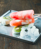 Homemade fruit juice popsicles with a stick Stock Images