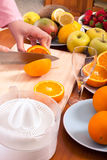 Homemade fruit juice preparation Stock Photos