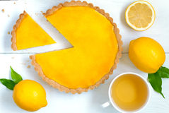 Homemade fruit lemon tart pie with green tea Stock Images