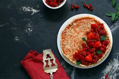 Homemade fruit pie. With berries royalty free stock image