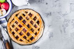 Homemade fruit pie on white stone background. Top view,place for text. Selective focus royalty free stock images