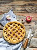 Homemade fruit pie on wooden table. stock photos