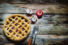 Homemade fruit pie on wooden table. stock photography