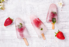 Homemade fruit  popsicle stick Stock Photos