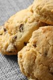 Homemade fruit scones on a hessian background Royalty Free Stock Image