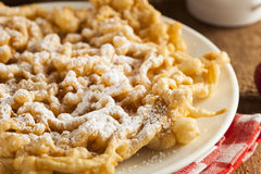 Homemade Funnel Cake with Powdered Sugar Royalty Free Stock Photography