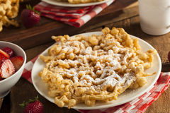 Homemade Funnel Cake with Powdered Sugar Royalty Free Stock Image