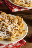Homemade Funnel Cake with Powdered Sugar Stock Photography