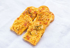 Homemade garlic & herb bread. Royalty Free Stock Images