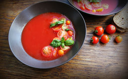 Homemade Gazpacho tomato soup in brown bowl. Healthy eating concept Stock Photo