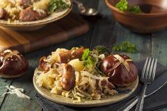 Homemade German Sausage and Sauerkraut Stock Images