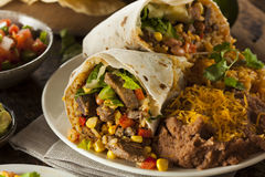 Homemade Giant Beef Burrito Stock Photo