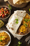 Homemade Giant Beef Burrito Stock Photography