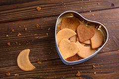 Homemade ginger cookies in heart shaped box Stock Image