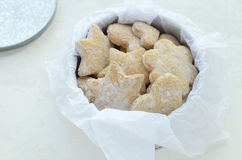 Homemade ginger cookies in tin box Royalty Free Stock Images