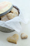 Homemade ginger cookies in tin box Royalty Free Stock Photography