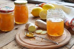 Homemade ginger and lemon jam on wooden background. Natural products to support the immune system in winter. Herbal medicine, heal. Thy food Royalty Free Stock Images