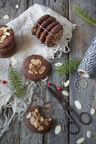 Homemade gingerbread and almonds cookies for Christmas Stock Photo