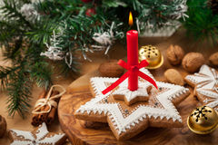 Homemade gingerbread candle for Christmas Royalty Free Stock Image