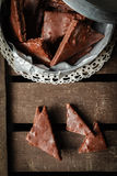Homemade gingerbread with chocolate icing Stock Photos