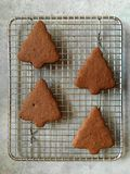 Homemade gingerbread Christmas cookies cooling on metal rack Royalty Free Stock Photos