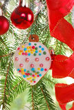Homemade gingerbread cookie hanging on christmas tree Royalty Free Stock Images