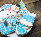 Homemade gingerbread cookies with colored icing Stock Photo