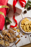 Homemade gingerbread Cookies within decorations royalty free stock image