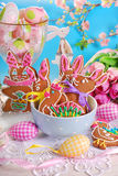 Homemade gingerbread cookies for easter Royalty Free Stock Image