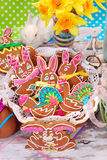 Homemade gingerbread cookies for easter Royalty Free Stock Photos