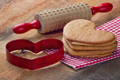 Homemade gingerbread cookies in heart shape Royalty Free Stock Photo