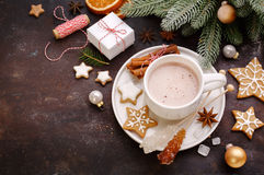 Homemade gingerbread cookies and hot chocolate Royalty Free Stock Images